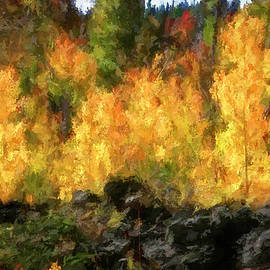 Autumn Aspens in Lava Rock by Donna Kennedy
