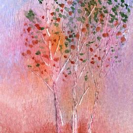 Autumn Aspens Watercolor by Conni Schaftenaar