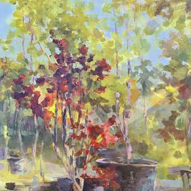 Autumn at Garden Center Group painting by Vali Irina Ciobanu by Vali Irina Ciobanu