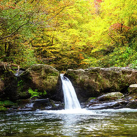 Autumn Colors at the Waterfall by Debra and Dave Vanderlaan