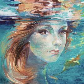 Autumn girl painting by Vali Irina Ciobanu by Vali Irina Ciobanu