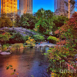 Autumn in New York - the Lake in Central Park by Miriam Danar