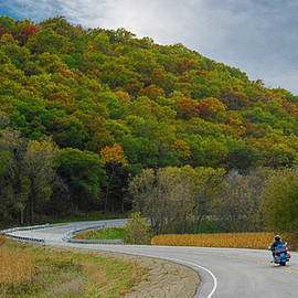 Autumn Motorcycle Rider / Blue by Patti Deters