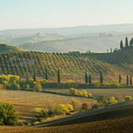 Autumn panorama, Tuscany, Italy by Justin Foulkes