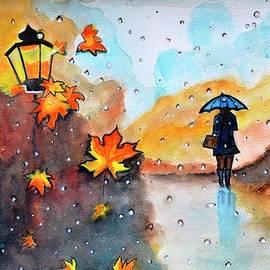 Autumn Rain watercolor painting by Manjiri Kanvinde