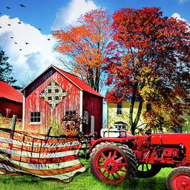 Autumn Red White and Blue on the Farm by Debra and Dave Vanderlaan