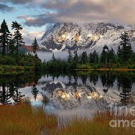 Autumn Reflection of Mount Shuksan in North Cascades by Tom Schwabel