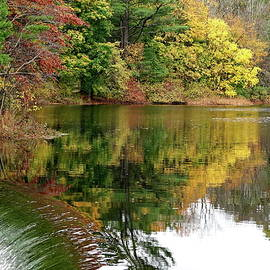 Autumn Reflections at Natick Dam by Lyuba Filatova
