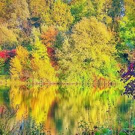 Autumn River Reflections by KaFra Art