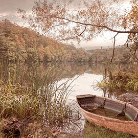 Autumn Rowboat in Soft Hues by Debra and Dave Vanderlaan