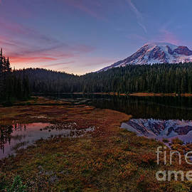 Autumn Sunset at Reflection Lake in Mount Rainier National Park by Tom Schwabel