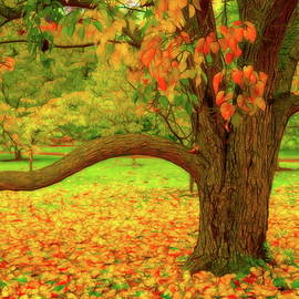 Autumn Tree And Leaves One by Mo Barton