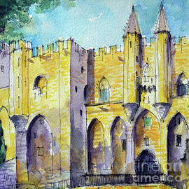 AVIGNON PALAIS DES PAPES watercolor painting Mona Edulesco by Mona Edulesco