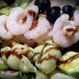 Avocado Pasta Shrimp Onion Blueberries by Johanna Hurmerinta