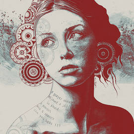 Ayil - Red Shadow - Vintage Lady Portrait with Mandalas by Marco Paludet