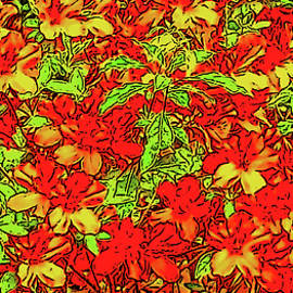 Azalea Bushes with Poster Edges on a Sunny Day with Red Hues by Marian Bell