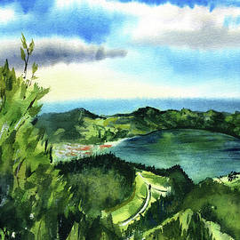 Azores Lagoa Azul Painting by Dora Hathazi Mendes