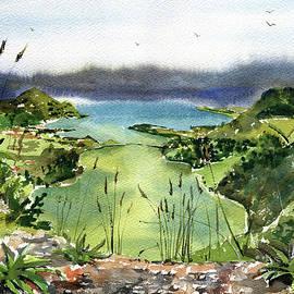 Azores Lagoa Verde Sete Cidades Painting by Dora Hathazi Mendes