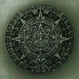Aztec Calendar Grunge  Background by Leslie Montgomery