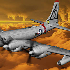 B-50 Superfortress in a storm - art by Tommy Anderson