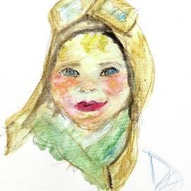 Baby Amelia Earhart Watercolor Portrait by Debora Lewis