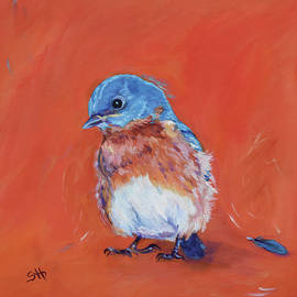 Baby Bluebird Loses a Feather by Sandy Herrault