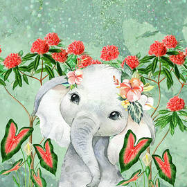 Baby Elephant Loves The Red Plants In The Magical Jungle by Johanna Hurmerinta