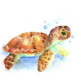 Baby Turtle, Nautical Nursery Art, Sea Life Turtle Painting by Watercolor Poetry