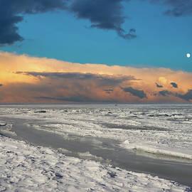 Bad Moon Rising Over The Winter Beach Jurmala  by Aleksandrs Drozdovs