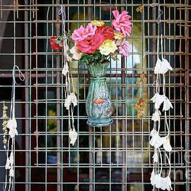 Bagan Temple Window with Flowers II