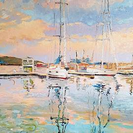 Balchik reflexion seascape oil on canvas by Vali Irina Ciobanu by Vali Irina Ciobanu