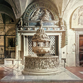 Baptismal Font Basilica of San Frediano Lucca Italy by Joan Carroll