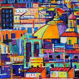 BARCELONA ABSTRACT ARCHITECTURE 375 textural impasto palette knife oil painting Ana Maria Edulescu by Ana Maria Edulescu