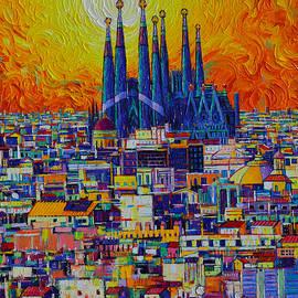 BARCELONA ABSTRACT CITYSCAPE FIERY SUNSET OVER SAGRADA FAMILIA knife oil painting Ana Maria Edulescu by Ana Maria Edulescu