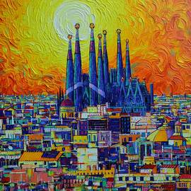 BARCELONA ABSTRACT CITYSCAPE SAGRADA FAMILIA AT SUNSET palette knife oil painting Ana Maria Edulescu by Ana Maria Edulescu