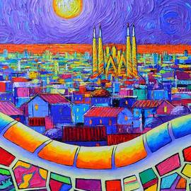 BARCELONA MOONLIGHT commissioned knife oil painting Guell Park abstract cityscape Ana Maria Edulescu by Ana Maria Edulescu