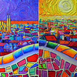 BARCELONA NIGHT AND DAY SAGRADA FAMILIA SEEN FROM PARK GUELL knife oil paintings Ana Maria Edulescu by Ana Maria Edulescu