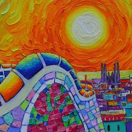 BARCELONA PARK GUELL SUNRISE OVER SAGRADA FAMILIA abstract impasto knife painting Ana Maria Edulescu by Ana Maria Edulescu