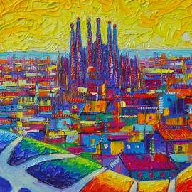 BARCELONA SUNSHINE abstract cityscape textural impasto palette knife oil painting Ana Maria Edulescu by Ana Maria Edulescu