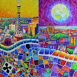 BARCELONA VIEW FROM PARK GUELL AT SUNRISE AND BY MOON diptych knife oil paintings Ana Maria Edulescu by Ana Maria Edulescu