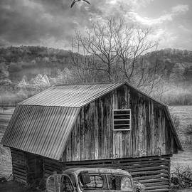 Barn and Truck Greeting the Day Black and White by Debra and Dave Vanderlaan