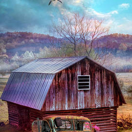 Barn and Truck Greeting the Day by Debra and Dave Vanderlaan
