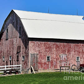 Barn And White Picket Fence by Kathy M Krause