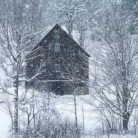 Barn In Snowstorm 2 by Alan L Graham