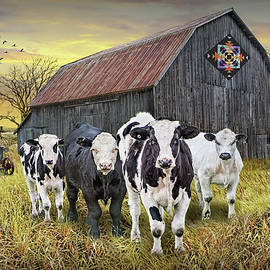 Barn Quilt with Cattle and Tractor at Sunset by Randall Nyhof