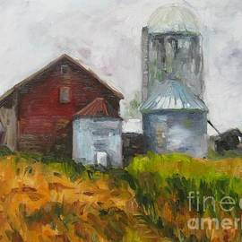 Barn with Corn Field and Grain Bins by Joseph Pizzuti
