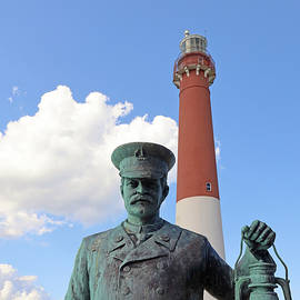 Barnegat Lighthouse and the Lighthouse Keeper Statue 2 by Allen Beatty