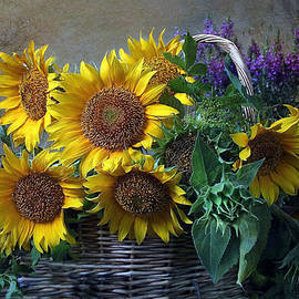 Basket Of Sunflowers With Lavender by Sandi OReilly