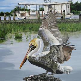 Bateau des Huitres et un Pelican by Phyllis Beiser