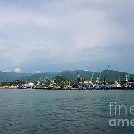 Batumi International Container Terminal with ship containers and mountain background Georgia by Imran Ahmed